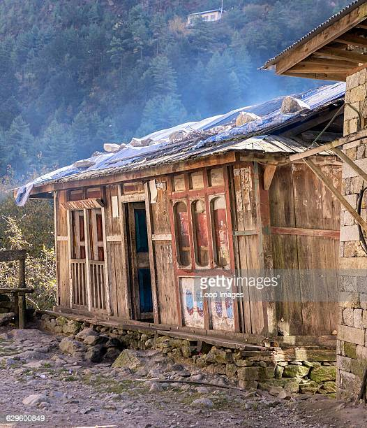 A traditional tea house selling drinks and snacks in the Sagarmatha National Park Himalayas Nepal