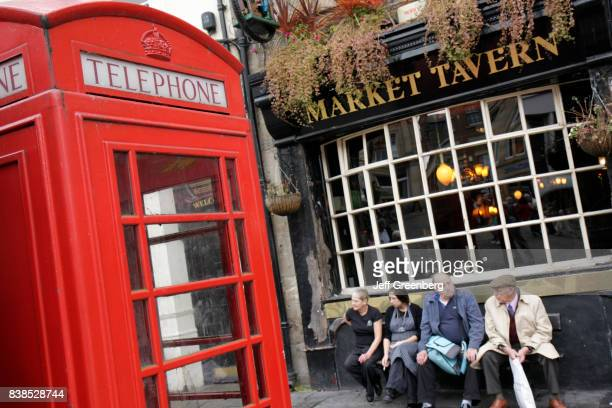 A traditional telephone box outside Market Tavern in Durham