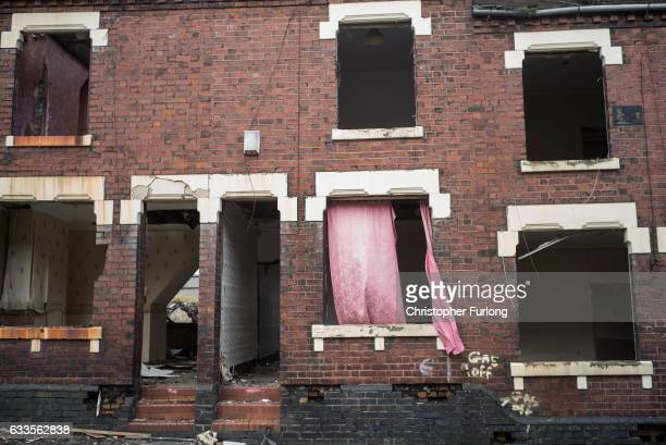 Traditional terraced houses are demolished to make way for modern homes on February 2 2017 in StokeonTrent England The StokeOnTrent central...
