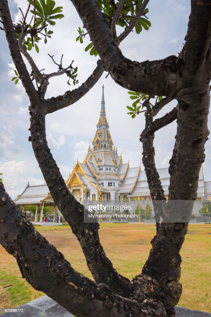 Traditional Thai architecture,Wat Sothonwararam is a temple in Chachoengsao Province, Thailand : Stock Photo