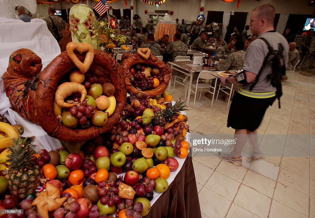 Traditional Thanksgiving decorations sit in the dining hall of Forward  Operating Base Rustamiyah November 22,