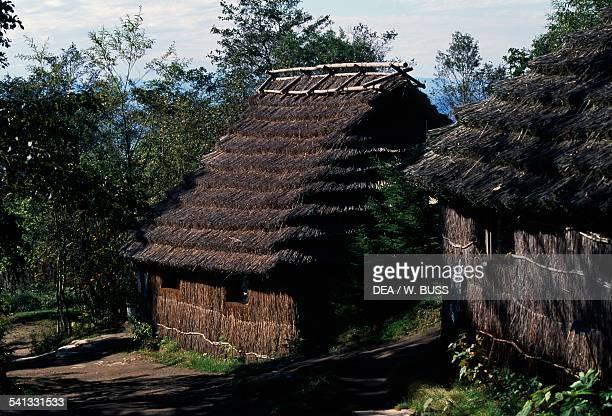 Traditional thatched houses Ainu culture Shiraoi Ainu village ShikotsuToya national park Hokkaido Japan