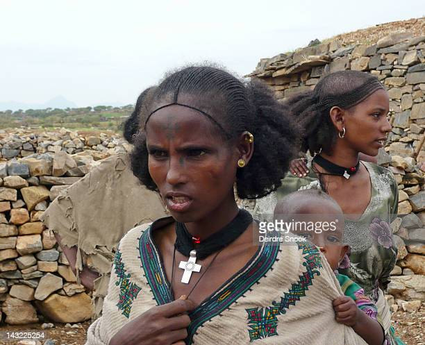 Traditional Tigrian women with their distinct hairstyles taken in a small village near Tekeze, Tigray