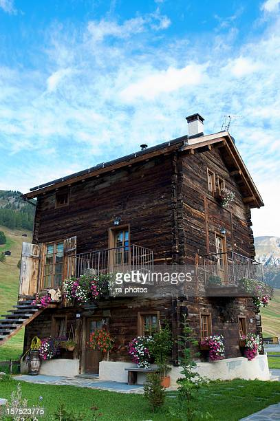 Traditional timber house in Livigno, Italy