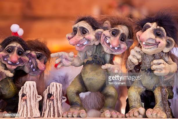 Traditional trolls on display in Tromso Gift and Souvenir Shop in Strandgata in Tromso Norway
