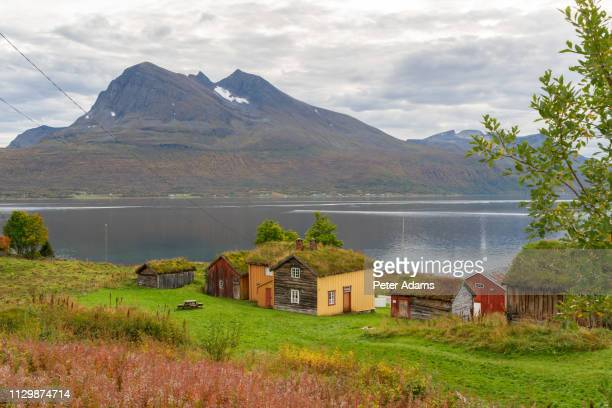 traditional turf roofed wooden  houses, senja island, troms county, norway - peter adams stock pictures, royalty-free photos & images