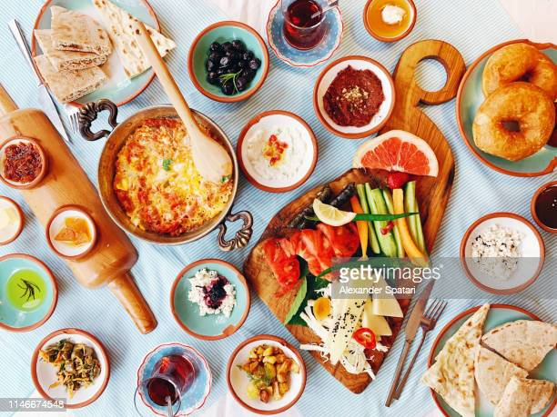 traditional turkish breakfast, directly above view - spread food stock pictures, royalty-free photos & images