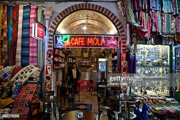 Traditional Turkish cafe in the historic Grand Bazaar in the Old City section of Istanbul, Turkey on December 28, 2009. Istanbul is selected as one...