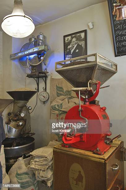 Traditional Turkish coffee grinding machine.