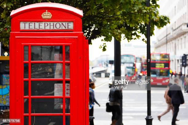 Traditional UK red telephone box London England United kingdom Europe