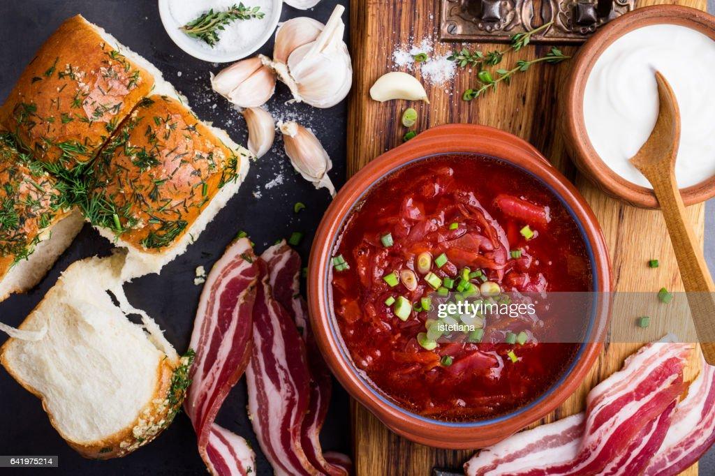 Traditional Ukrainian cuisine, beet soup borscht : Stock Photo