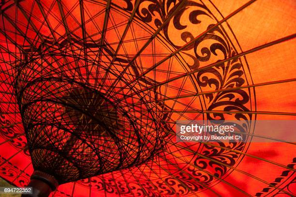 traditional umbrella, bagan - myanmar stock pictures, royalty-free photos & images