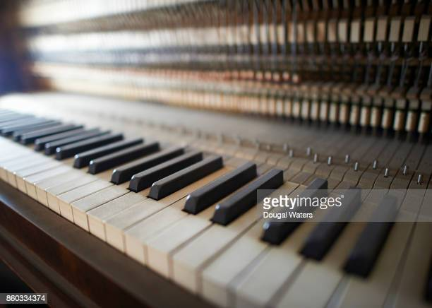 Traditional upright piano keys close up.