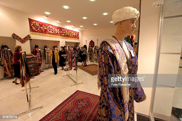 Traditional Uzbec carpets and fabrics are displayed in the shop at The Center of National Arts on October 13 2009 in Tashkent Uzbekistan