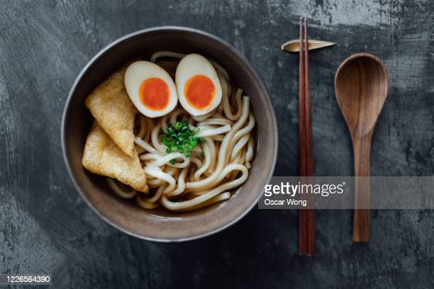 traditional vegetarian japanese udon noodles - japan stock pictures, royalty-free photos & images