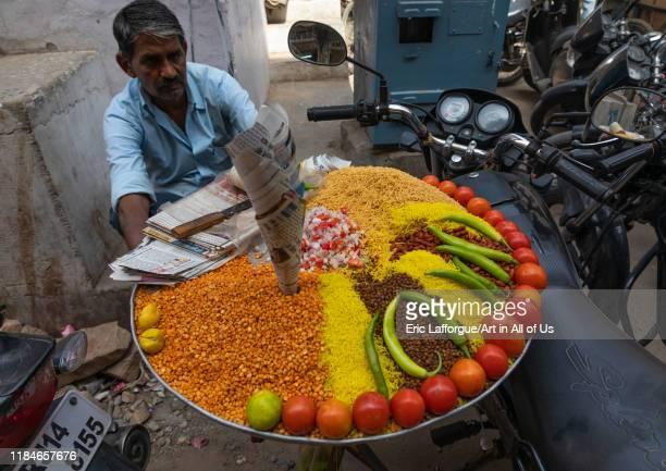 Traditional vegetarian street food Rajasthan Jaipur India on July 12 2019 in Jaipur India
