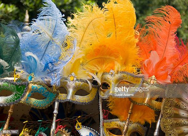 Traditional Venetian masks with feathers