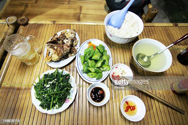 traditional vietnamese dinner - mai chau stock pictures, royalty-free photos & images
