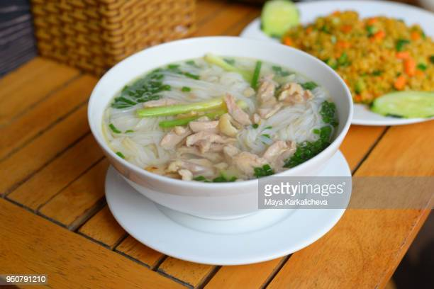 Traditional Vietnamese Food, Pho soup, rice noodles, chicken, green onions and spices, Hanoi, Vietnam