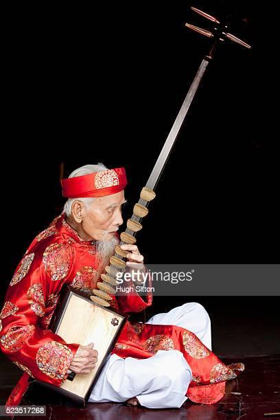 traditional vietnamese musician, hanoi. vietnam, - hugh sitton stock-fotos und bilder