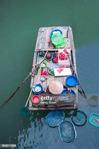 Traditional Vietnamese Woman Vendor in Boat in Halong Bay in Vietnam.