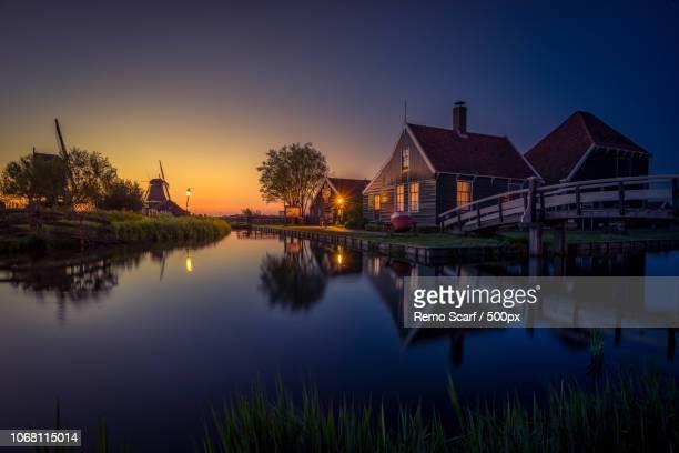 Traditional village at dusk, Zaanse Schans, Netherland