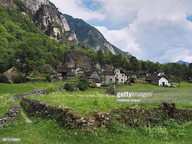 Traditional Village of Sabbione in Bavona Valley, Ticino, Switzerland