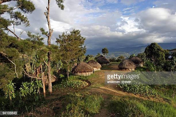 traditional village - papua new guinea - papua new guinea stock pictures, royalty-free photos & images