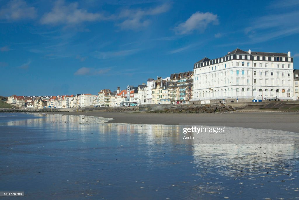 Traditional villas along the waterfront in Wimereux, seaside resort of the 'Cote d'Opale' coast.