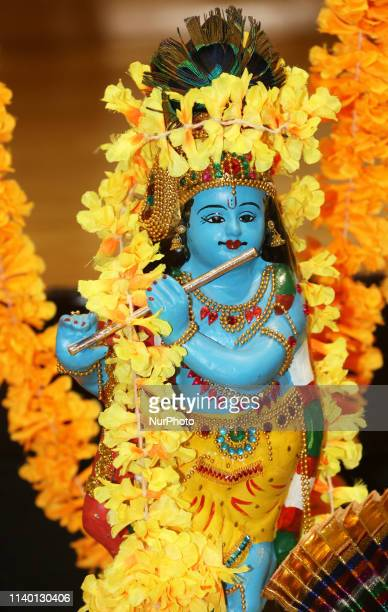 Traditional Vishu kani setting with a small idol of Lord Krishna seen during the Vishu Festival in Brampton Ontario Canada Vishu is a major annual...