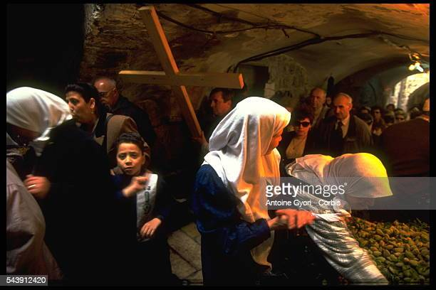 Traditional Way of the Cross during Good Friday on Via Dolorosa