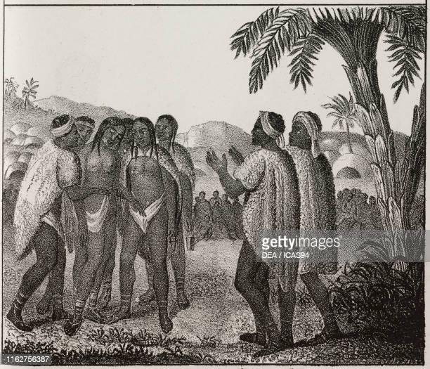 Traditional wedding ceremony Africa lithograph from Galleria universale di tutti i popoli del mondo ossia storia dei costumi religioni riti governi...