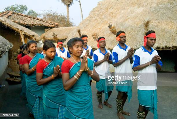 Traditional welcome performed to a guest by Santhal tribe in Dumka, Jharkhand, India.