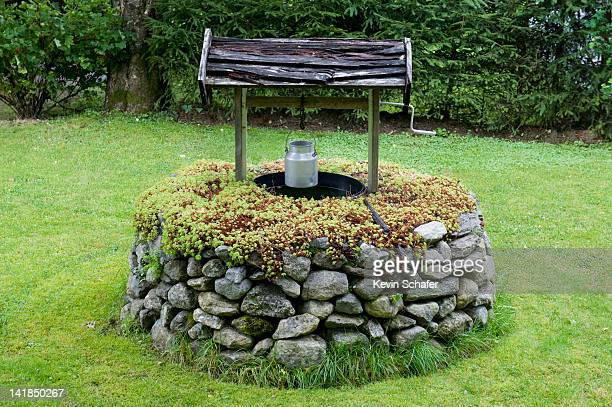 traditional well, olden village, nordfjord, norway - putten stockfoto's en -beelden
