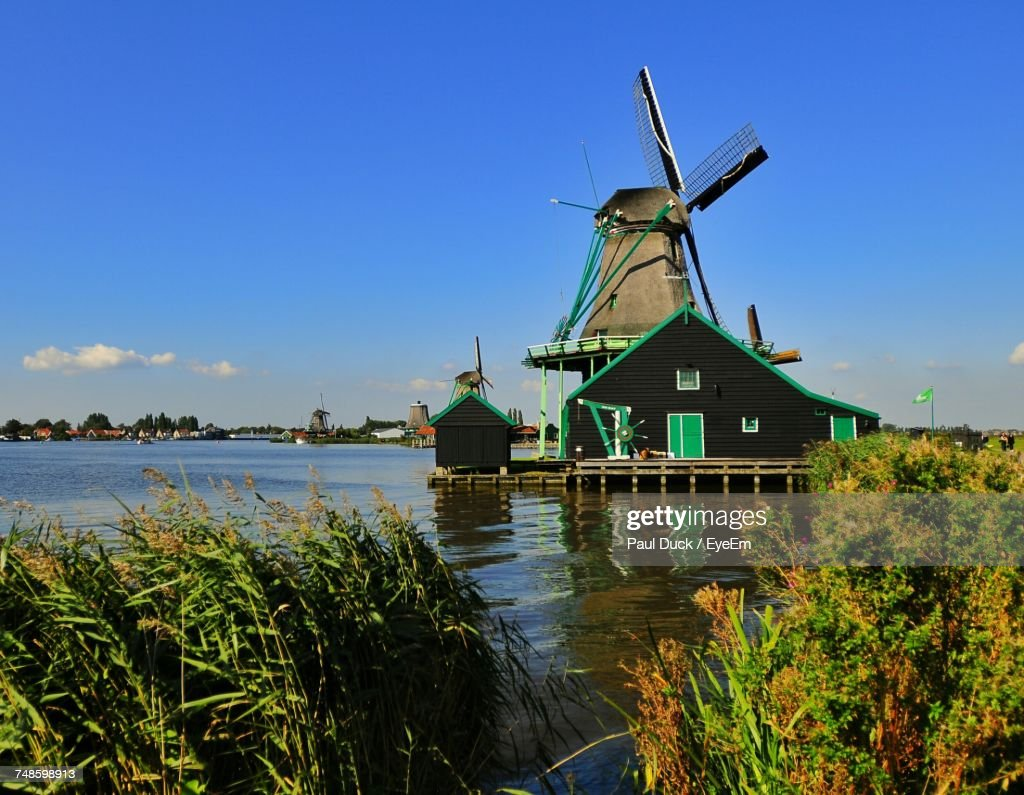Traditional Windmill Against Blue Sky : Stock Photo