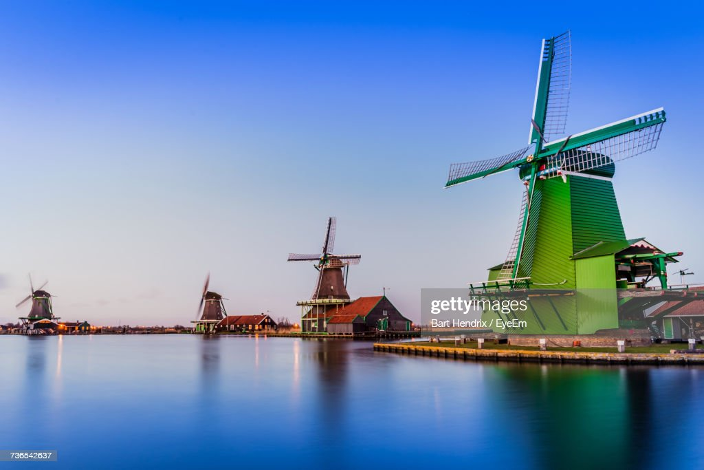 Traditional Windmill Against Clear Blue Sky : Stock Photo