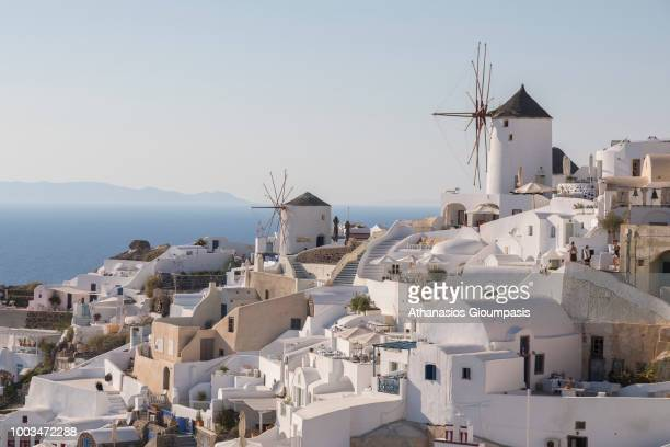 Traditional Windmill at Oia village on July 16 2018 in Santorini Greece