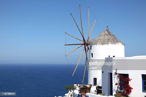traditional windmill, greek islands - traditional windmill stock photos and pictures