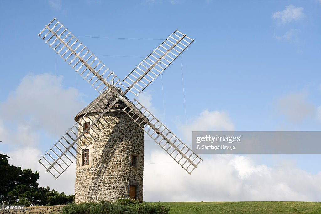 Traditional windmill in Brittany : Stock Photo