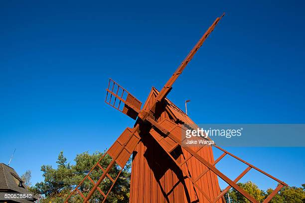 traditional windmill, stockholm, sweden - jake warga stock pictures, royalty-free photos & images