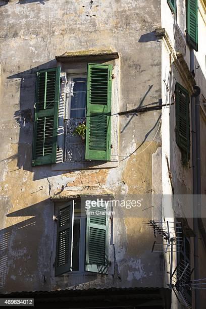Traditional window shutters in Kerkyra Corfu Town Greece