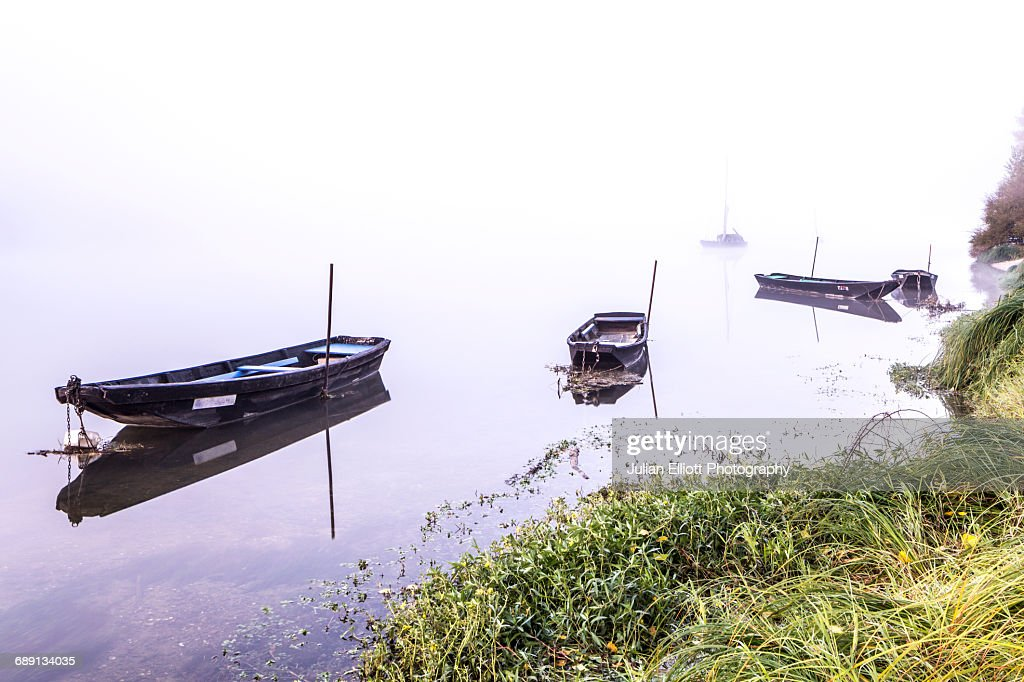 Traditional wooden boat on the Loire River, France : Stock Photo