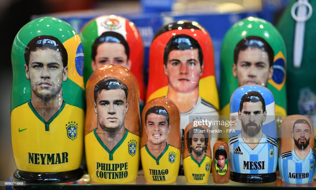 Traditional wooden dolls in the form of Lionel Messi of Argentina and Brazilian players are seen in a shop prior to the start of the FIFA 2018 World Cup on June 7, 2018 in Moscow, Russia.