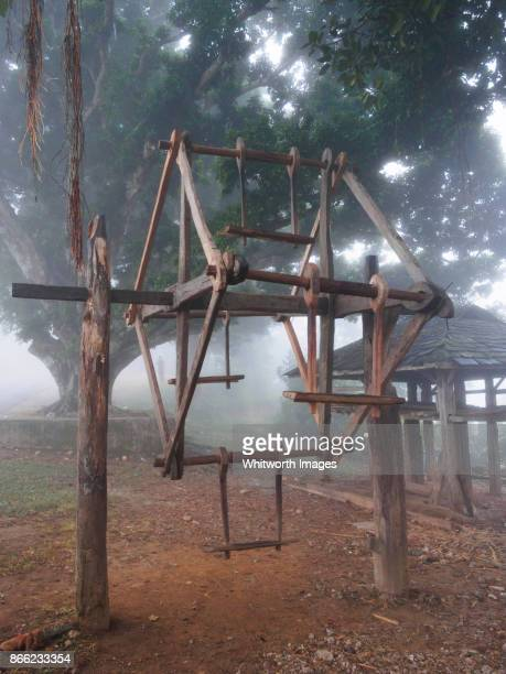 traditional wooden ferris wheel for dashain holidays in nepal - dashain stock photos and pictures