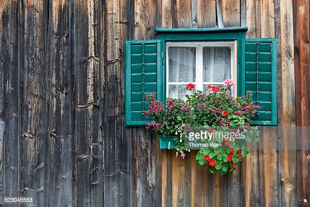 Traditional wooden house, alpine cabin with green window frames and geraniums, Salzkammergut, Austria, Europe