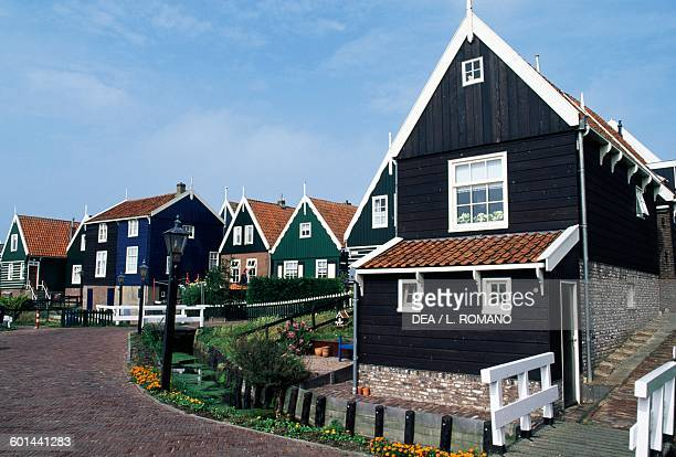 Traditional wooden houses Marken Netherlands