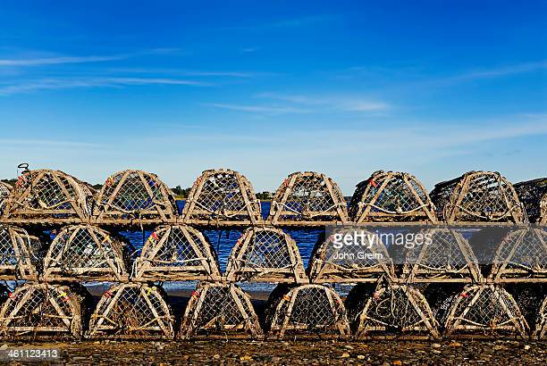 Traditional wooden lobster traps
