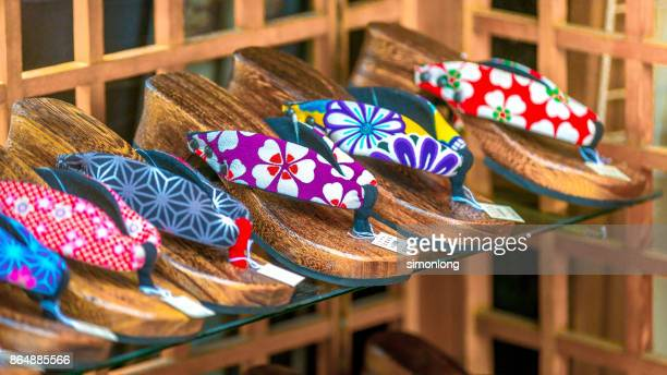 traditional wooden slippers or geta on sale - 服飾品 ストックフォトと画像