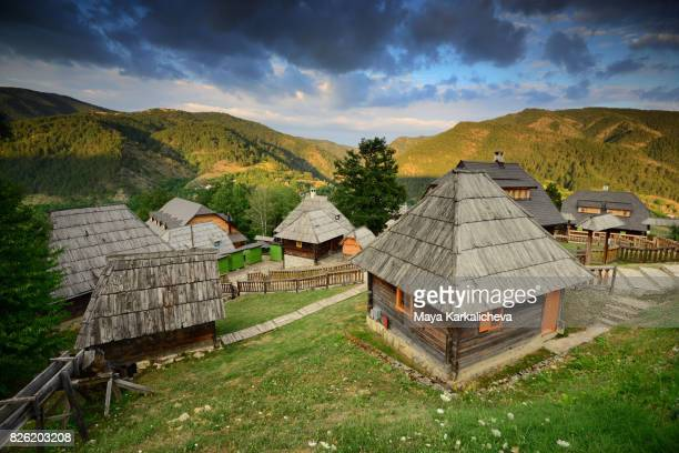 Traditional wooden village in Serbia