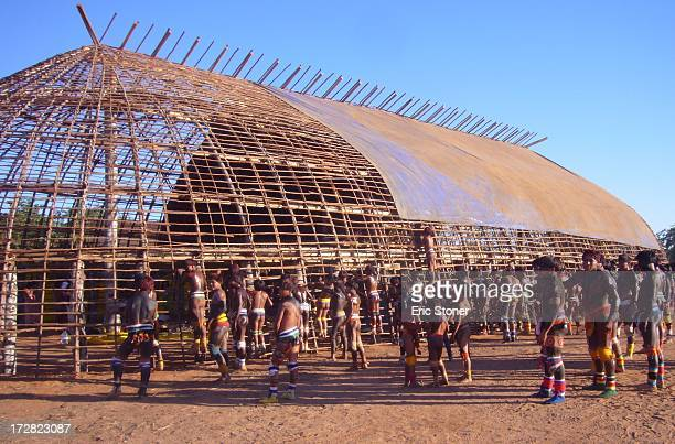 CONTENT] Traditional Yawalapiti village longhouse under construction